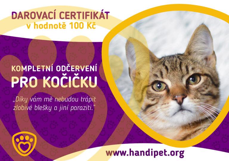 Darovací certifikát: konkrétní odčervení pro kočičku za 100 Kč
