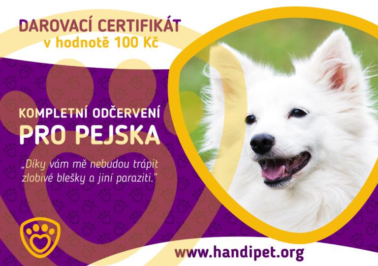 Darovací certifikát: konkrétní odčervení pro pejska za 100 Kč