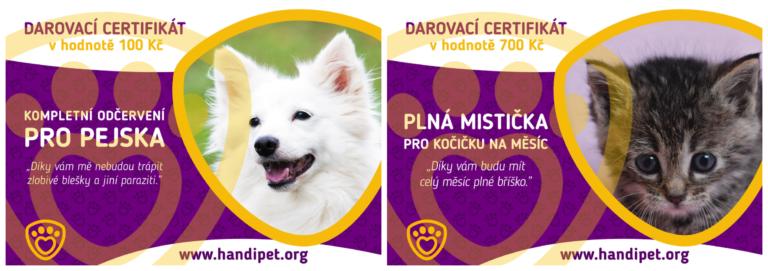 Darovací certifikáty na pomoc pejskům a kočičkám v nouzi